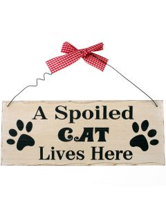 A Spoiled Cat Lives Here Wall Plaque