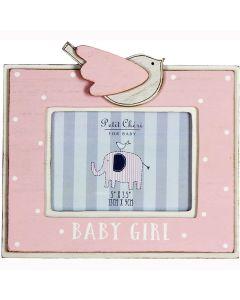 "Baby Girl Photo Frame by Petit Cheri - Pink New Mum Dad Gift Present 5"" X 3.5"""