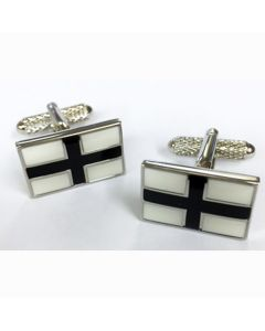 Black Cross Cufflinks - Onyx Art - Gift Boxed - Modern Fashion Unisex