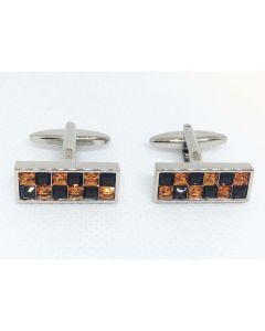 Black & Topaz Crystal Cufflinks by Dalaco - Gift Boxed - High Quality - Unisex