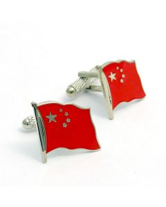 Chinese Flag Cufflinks by Onyx Art - Gift Boxed