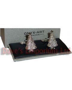 Christmas Tree Cufflinks by Onyx Art - Gift Boxed - Silver Xmas Cuff Links