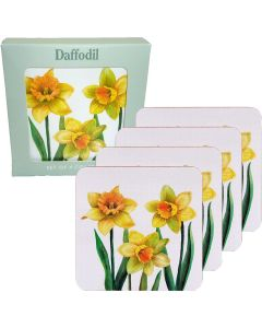 Set of 4 Daffodil Coasters by Leonardo - Gift Boxed - Yellow Flower - LP94276