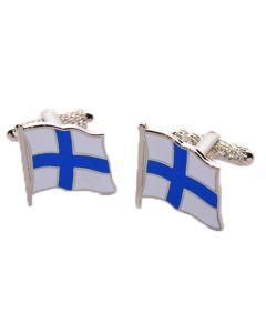 Finnish Flag Cufflinks by Onyx Art - Gift Boxed