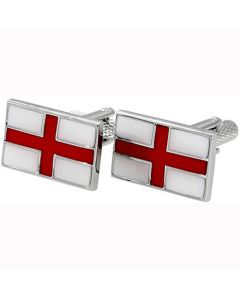 St Georges Cross Cufflinks - Onyx Art - Gift Boxed - English England Flag