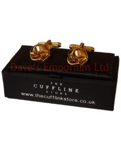 Thread Knot Cufflinks - Gift Boxed - Gold Modern Ladies Unisex Cuff Links