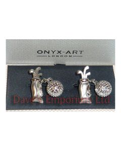 Golf Bag and Ball Cufflinks by Onyx Art - Gift Boxed - Golfer Chain Cuff Links