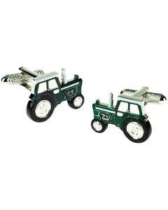 Green Tractor Cufflinks - Onyx Art - Gift Boxed - Farmer Farm Driver Farming