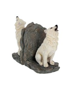 Wardens of The North Bookends - White Wolf - Wolves Book End Figurine 20.3cm