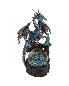 Large Blue Dragon with Baby in Glass Ball - Juliana Mystic Legends Ornament 21cm
