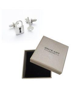 Padlock and Key Cufflinks by Onyx-Art