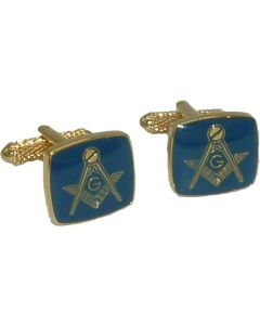 Masonic Square & Compass with G Cufflinks in Blue and Gold Onyx Art - Gift Boxed