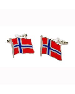 Norwegian Flag Cufflinks Onyx Art - Gift Boxed - Norway Nordic Cross Cuff Links