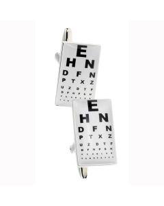 Opticians Cufflinks - Gift Boxed - Optical Optometrist Eye Test Chart Cuff Link