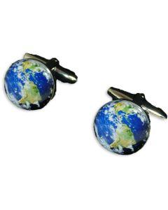 Planet Earth Cufflinks - Gift Boxed - World Globe Satellite Gift Cuff Links