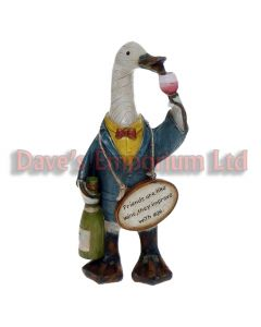 Davids Wineloving Message Duck - Friends are Like Wine They Improve with Age