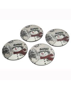 Jolly Snowman Coasters - Christmas Design - Set of 4 Glass Table Mats Round 10cm