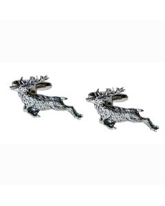 Leaping Stag Cufflinks - Gift Boxed - Pewter - Deer Shooting Hunting Cuff Links