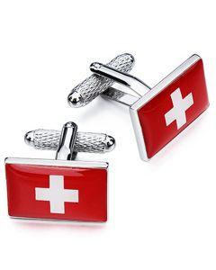 Swiss Flag Cufflinks by Onyx Art - Gift Boxed - Switzerland