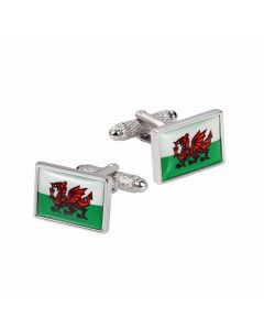 Welsh Flag Cufflinks by Onyx Art - Gift Boxed - Wales Dragon Cymru