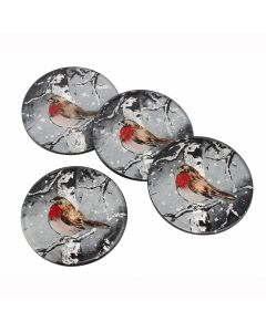 Winter Robin Coasters - Christmas Design - Set of 4 Glass Table Mats Round
