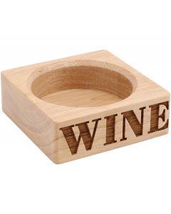 Loft Wooden Wine Bottle Holder - Carved Wood - Modern Block Design